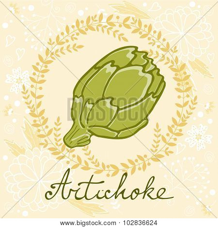 A colorful illustration of fresh artichoke