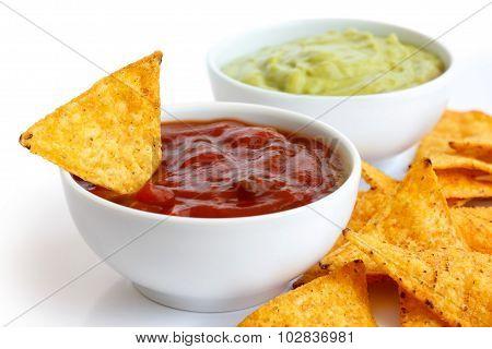 Tortilla chips and dip.