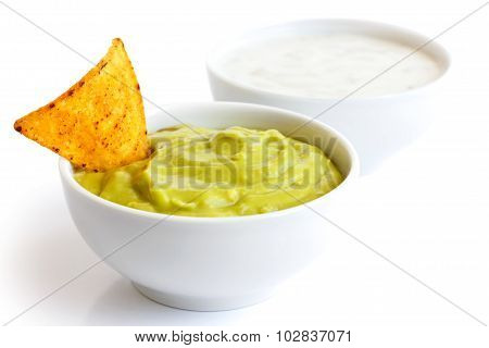 Tortilla chip and dip.