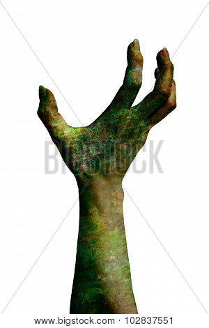 Demonic Hand Isolated On White
