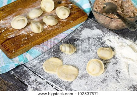 Dumplings. Dough, Stuffing, The Process Of Cooking Dumplings At Home.