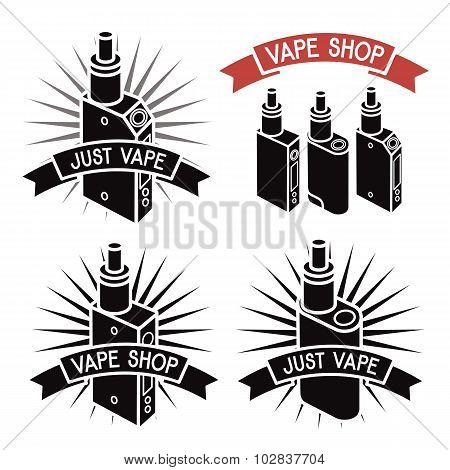 Vape Shop Logo. Icons E-cigarette