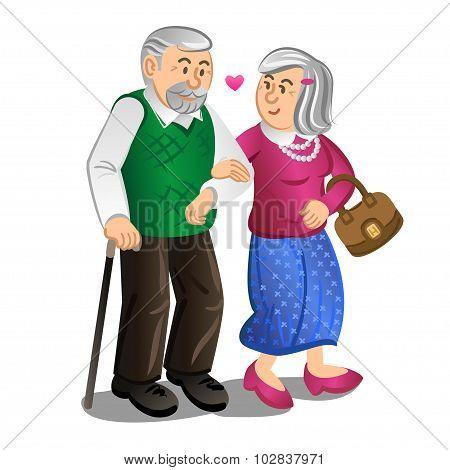 Senior Couple Walking Holding Hands. Vector Illustration.