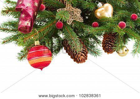 christmas decorations   on fir tree