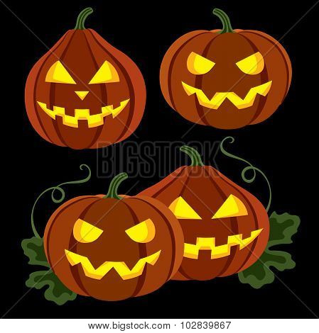 Two Pumpkins With Leaves