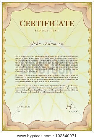 Vector template of detailed certificate with guilloche elements using
