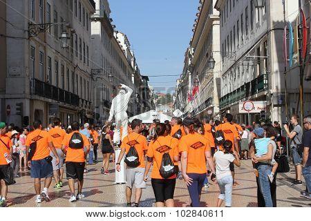 Participant At Lisbon Marathon Walking