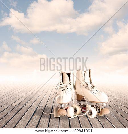rollin skates on a wood floor