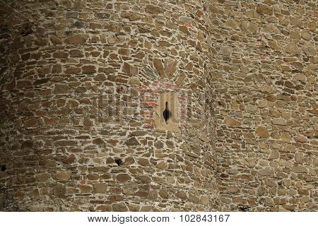 Detail Of Medieval Castle Wall With Small Arrow Slit