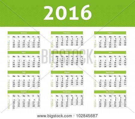 2016 Year Calendar In English, Ligh Green Halftone Style