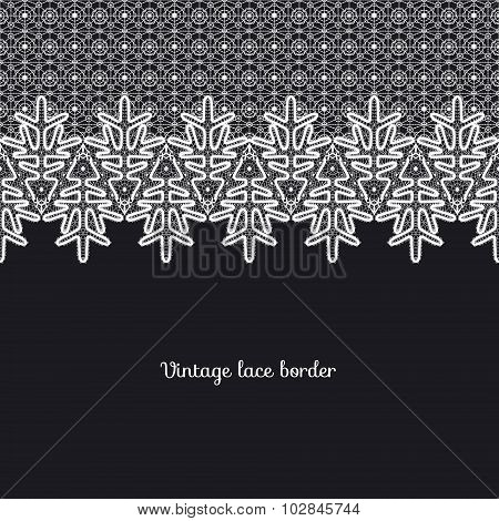 Vector lace border in the style of a vintage handmade lace.