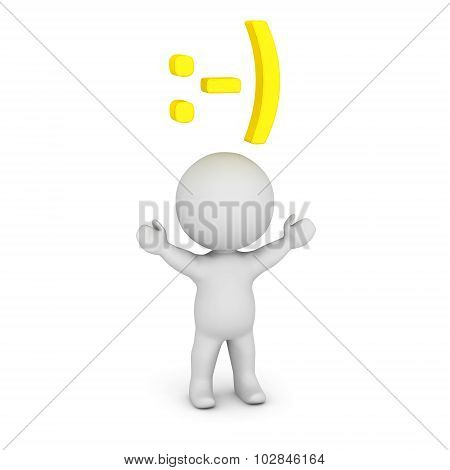 3D Character With Smiley Face Emoticon Above His Head