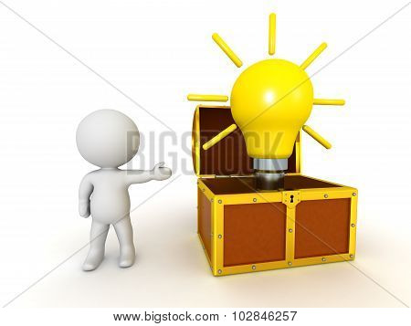 3D Character Showing Treasure Chest With Light Bulb