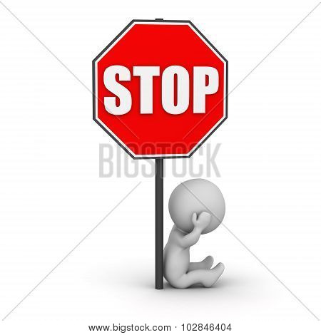 3D Character Sitting Stressed Next To Stop Sign