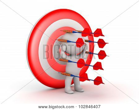 3D Character Surrounded By Dart Arrows And Pinned To A Target