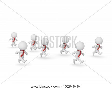 3D Characters With Red Ties Running