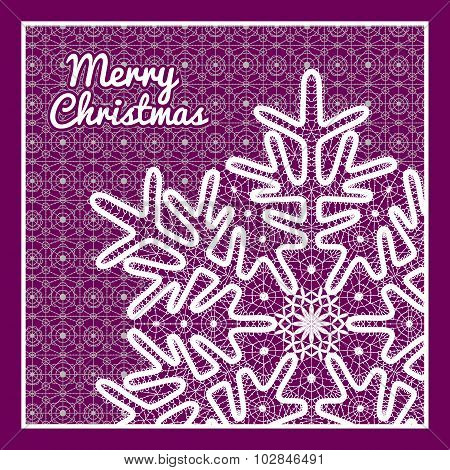 Beautiful vector Christmas card with vintage lace snowflake style handmade lace.