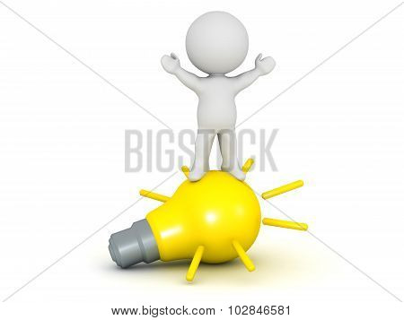 3D Character Standing With Arms Raised On Large Light Bulb