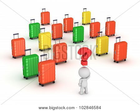 3D Character Searching For His Travel Trolley