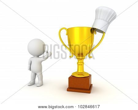 3D Character Showing Chef Hat And Gold Trophy
