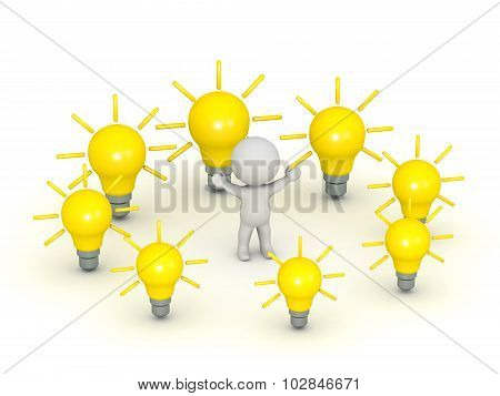 3D Character Surrounded By Light Bulb Ideas