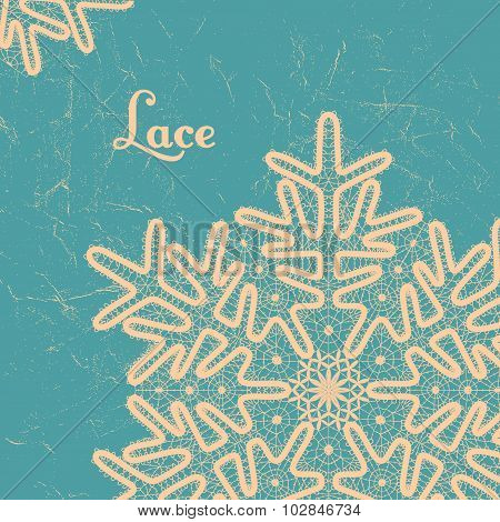 Vector lace snowflake style vintage handmade lace.