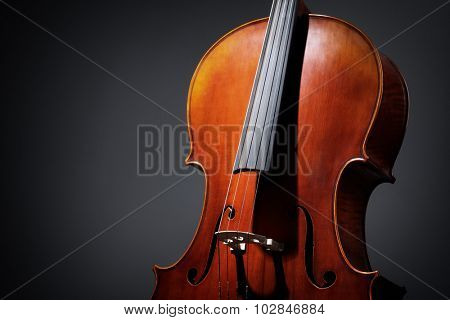 Antique Cello musical instrument on a dark background