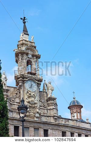 A clock tower of the Saint John of the Market church in Valencia Spain.