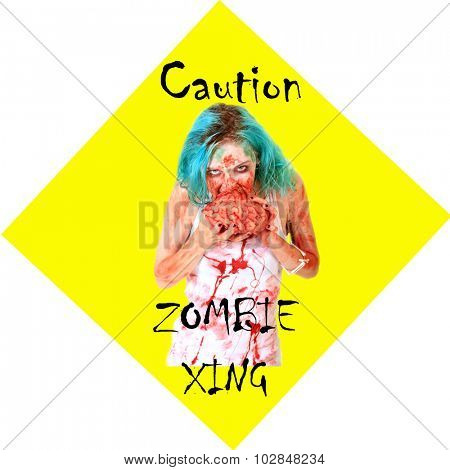 Caution ZOMBIE XING sign. Zombies are a menace and pay no attention to traffic laws while on their search for Human Brains. Everyone needs a Yellow Caution Zombie Crossing Street sign. On white