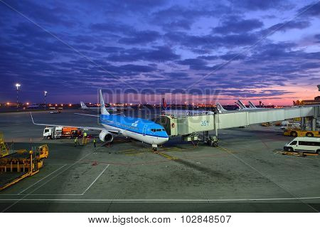 MOSCOW, RUSSIA - AUGUST 19, 2015: KLM aircraft in Sheremetyevo Airport. KLM is the flag carrier airline of the Netherlands headquartered in Amstelveen with its hub at nearby Amsterdam Airport Schiphol