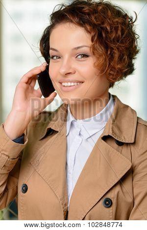 Nice woman talking on phone