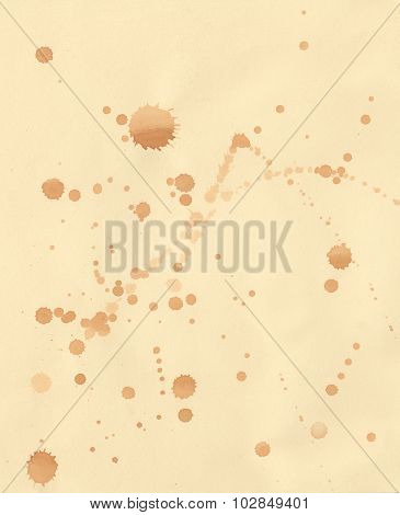 Yellowing Paper With Brown Ink Droplets