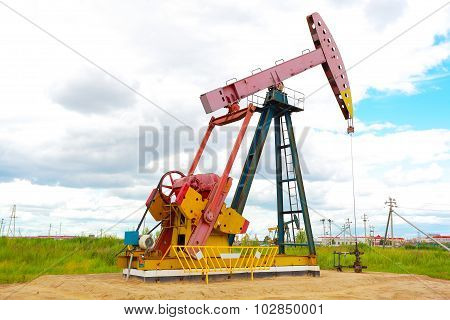 Pink Oil Pump Of Crude Oilwell Rig