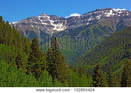 Mountains in snow and forests on hillsides of Telluride Colorado USA.
