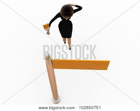 3D Woman Painting Street Board  Concept