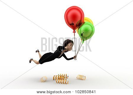 3D Woman With Balloons Concept
