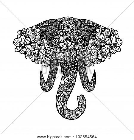 The Stylized Head Of An Elephant,hand Drawn Lace