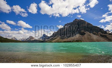 Bow Lake And Crowfoot Mountain, In Banff National Park
