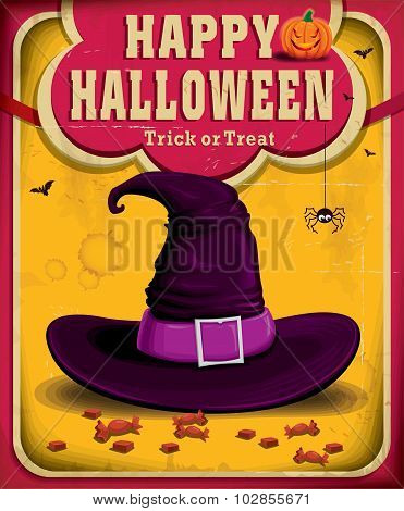Vintage Halloween poster design with witch hat