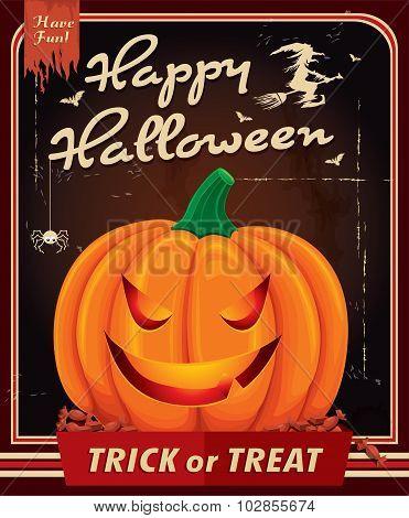 Vintage Halloween poster design with pumkin head