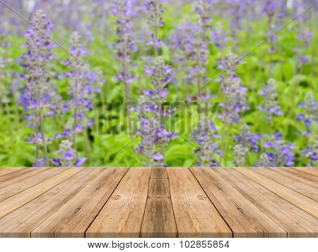 Wooden Board Empty Table blur flower in forest - can be used for display or montage your products.