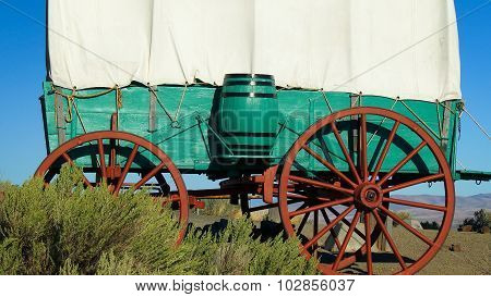 Covered Wagon On The Prairie In Eastern Oregon