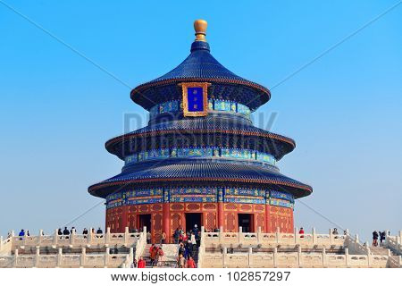 BEIJING, CHINA - APR 6: Temple of Heaven with tourists on April 6, 2013 in Beijing, China. It is the religious complex where the Emperors pray to the Heaven for good harvest.