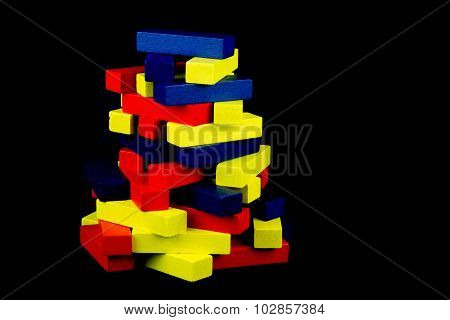 Colored Wooden Blocks On Black Background