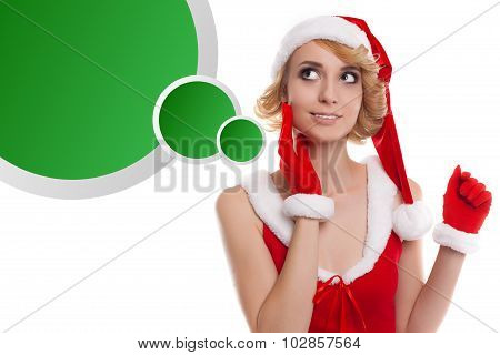Beautiful Happy Blond Christmas Girl Thinking And Smiling With Thinking  Green Ballon