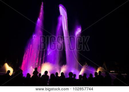 night illumination of Sochi fountain