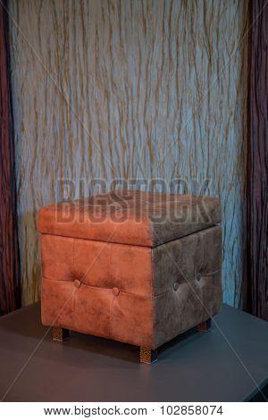 Brown cube chair