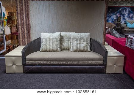Beige and grey sofa