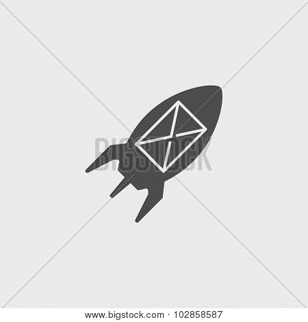 Illustration Rocket With An Icon.