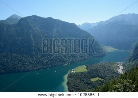 Konigssee Lake In Valley In Alps